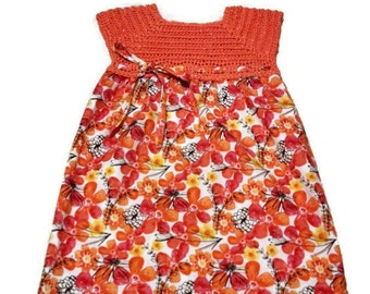Spring Dress, Easter Dress, Summer Dress, Crochet Toddler Dresses, Orange Flower Dress