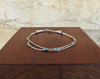 Hopi Jewelry Liquid Silver Bracelet Native American Bracelet Liquid Silver and Turquoise Hopi Jewelry Ted Wadsworth