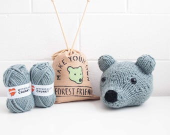 Faux Green Baby Bear Head Pillow Knitting Kit - Make Your Own Forest Friend - DIY