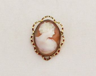 VIntage cameo brooch in gold filled setting, c.1930 shell cameo pin, carved shell cameo