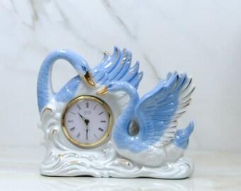Vintage Blue And White Swans Clock, Porcelain Mantle Clock, Gold Colored Accents, 1950's Japan, Porcelain Clock, Ceramic Clock, Figurine