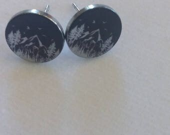 Silver Tree and Mountain Stud Earring. Mountain Earrings. Outdoor Jewelry. Moutainscape Jewelry. Gift for Her