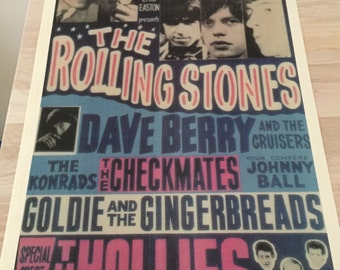 The Rolling Stones, 1964, Futurist,  Dave Berry, The Hollies, Concert Tour Poster Repro, cool vintage Rock Art