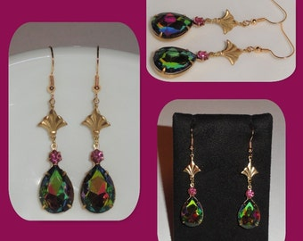 Pear Tear Drop WATERMELON VITRAIL Vitreil Pink Crystal Rhinestone Dangle Pierced Earrings