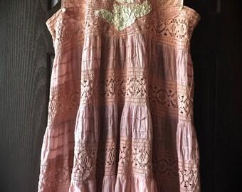 Romantic Antique Rose Jumper/ Dress Vintage Details Unique Womens Dress One Size Fits Most