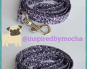 Purple damask dog collar with matching leash - adjustable, modern dog accessory, custom sizes, matching set