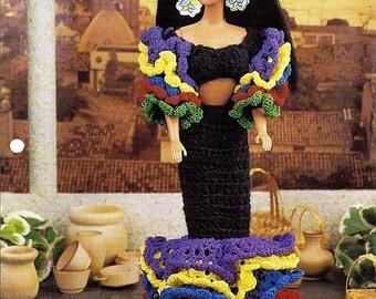 "Bright Ruffles Dress 11 1/2"" Doll Crochet Pattern Annies Fashion Doll Crochet Club FC26-02"