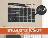 2017 Small Wall Calendar Decal, Chalkboard Wall Decal, Monthly Planner, Monthly Calendar - by Simple Shapes