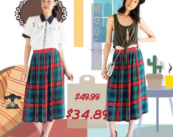 70s vintage plaid skirt/ midi skirt/ high waisted skirt / Tartan skirt in green blue and red accent / poly blend pleated skirt