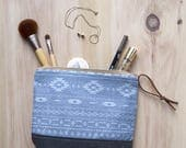 Cosmetic Bag in Mesa Chambray, Waxed Canvas - Zipper Clutch, Makeup Pouch, Bridesmaid Clutch