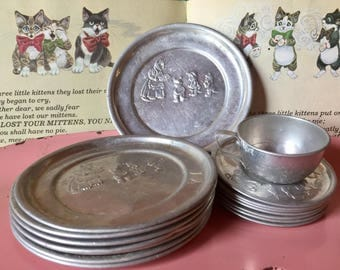 Vintage Tin Tea Set, Three Little Kittens, Mother Goose, Nursery Rhyme, Play Kitchen