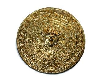Vintage Mexican Silver Aztec Calendar Brooch