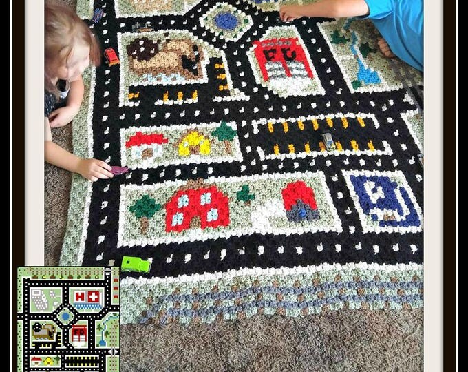 Featured listing image: C2C Graph, City Play Mat Afghan C2C Crochet Graph and Written Word Chart