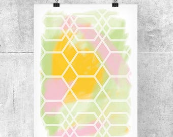 Pastel Geometric Art Print - Abstract Art