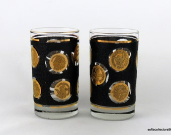 Libbey Gold Coin with Gold Band Double Flat Tumblers - Vintage 1960s Drinkware (pair)