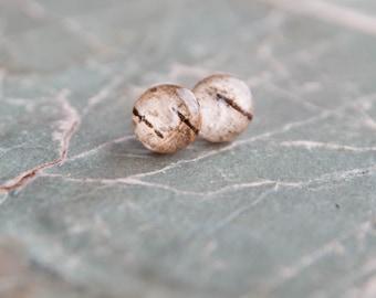 Birch Bark Stud Earrings - tree bark resin earrings - rustic wedding jewelry Downy Birch
