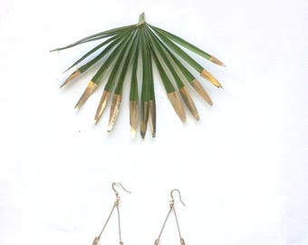 "Fringe statement earrings, Jungle Green and Golden, Half Moon and gold plated 22 k high quality french hooks  ""Lunes"""
