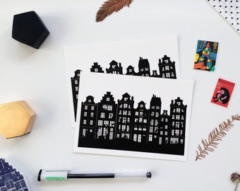 Amsterdam Dutch Canal Houses Postcard, Black White Gold Art Monochrome Wanderlust Travel Souvenir Architecture Illustrated Notecard