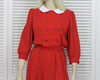 Vintage Red Day Dress Polka Dot Size 10 1980s Size Medium