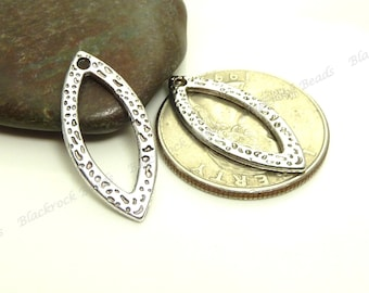 Bulk 30 Dimpled and Hammered Oval Dangle Charms or Pendants ( Double Sided ) - Antique Silver Tone Metal - BP7