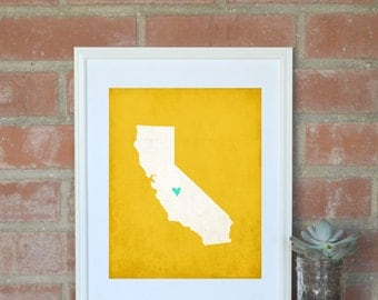 California State Art Silhouette Map Customizable Print. California Gift Map. 8x10 Personalized Map Art. Vacation Souvenir Map.