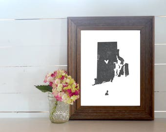 Rhode Island Distressed State Map Print. Personalized 8x10 State Art Print. Map Gift. Housewarming Gift. New Home Gift. Anniversary Gift.