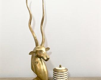 Vintage Brass Kudu Antelope Sculpture Large Gold Metal Brass Horned Animal Bust MCM Mid Century Rustic Chic Decor