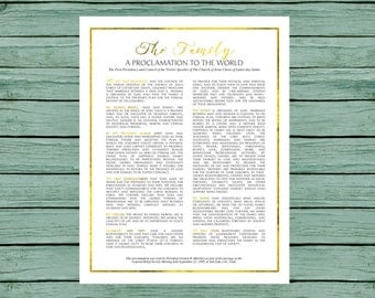 INSTANT DOWNLOAD, Family Proclamation, 11x14, LDS Printable, Proclamation to the World,  Mormon print, lds decor, gold foil, modern style