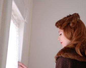 Vintage 1950s fur hat, brown halo netting