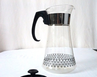 Mod Pyrex Vintage Glass Coffee Maker Black White and Chrome