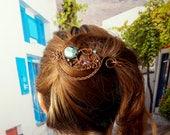 Wire hair slide, large hair barrette, copper hair fork or hair pin, wire wrapped hair accessories,  metal hair clip, bun pin, long hair