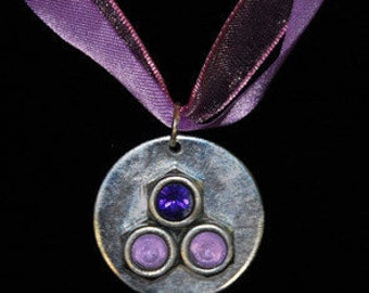 NECKLACE with METAL pendant with Swarovski CRYSTALS and Purple Satin Ribbons  Modern Funky Dare to Wear