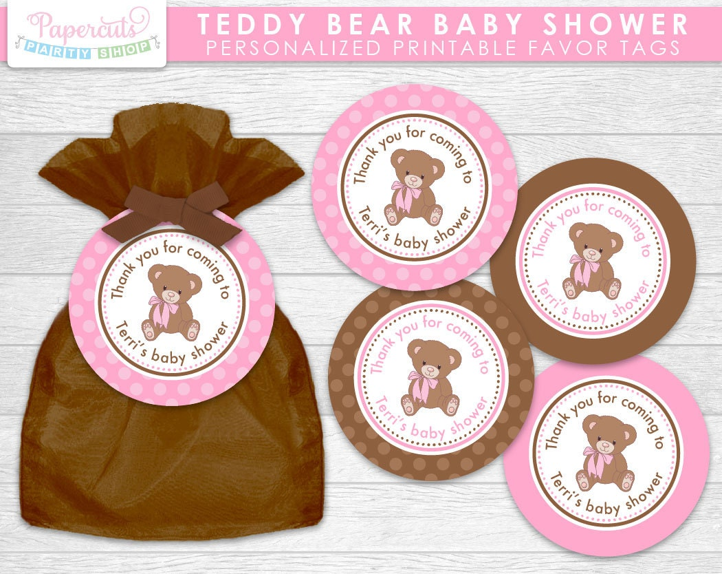 teddy bear theme baby shower favor tags pink brown