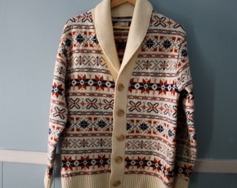 Men's Vintage 1960s Shawl Collar Sweater/Fair Isle Cardigan Sweater/Made in the USA / Patterned Boyfriend Sweater Unisex /Size medium