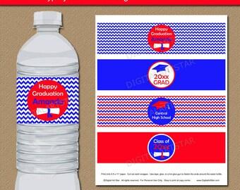 Graduation Water Bottle Labels, Graduation Party Decorations, 2017 Graduation Party Favors, High School Graduation Water Bottle Stickers G3