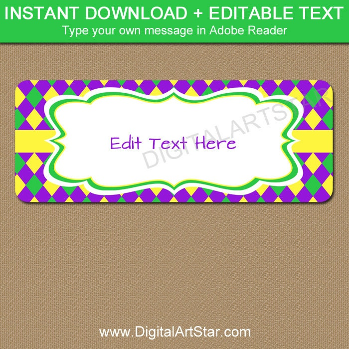 Mardi Gras Address Labels Printable Return Address Labels