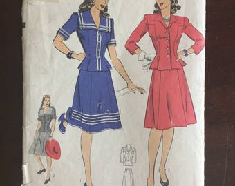 """1940's Hollywood Two Piece Dress with Jacket and Skirt Pattern - Bust 32"""" - No. 1158"""