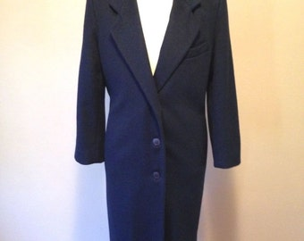 Womens Size M Ashley Scott NAVY BLUE Wool Winter COAT Long Vintage Overcoat