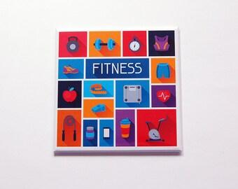 Fitness Magnet, Locker Magnet, Kitchen Magnet, Fridge magnet, Stocking stuffer, Workout Magnet, Fitness, Exercise, Bright Colors (7182)