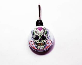 Day of the Dead, Skull zipper pull, Sugar Skull charm, zipper pull, purse charm, Sugar Skull, Cinco de Mayo (974)