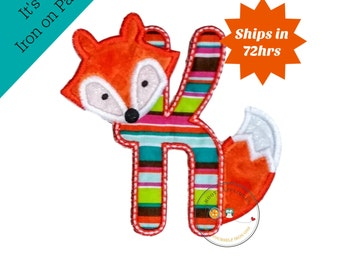 Woodland fox letter K machine embroidered iron on no sew patch, fox embroidered monogram letter K, ready to ship