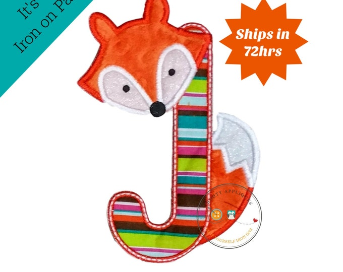 Woodland fox letter J machine embroidered iron on no sew patch, fox embroidered monogram letter J, ready to ship