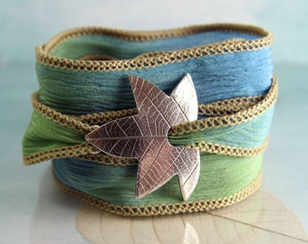 Leaf Bracelet - Silk Ribbon Wrap - Handcrafted - Recycled Fine Silver