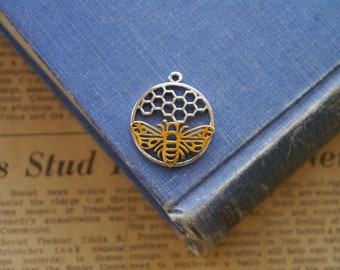 3 pcs Silver and Gold Honey Comb Honeycomb Bee Pendant Charms 29m (GC3032)