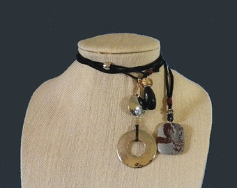 Lariat Necklace Choker with Jasper, Agate & Large Silver Focal Bead. Genuine Black Leather Suede, Red Round Leather. FREE US Shipping