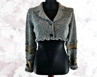 Gray Shrug, Bolero Shrug, Upcycled Clothing, Long Sleeve Shrug, Upcycled Sweater, OOAK Shrug, Boho Shrug, Winter Fashion, Gift for Her