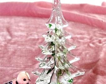 Glass Art Christmas Tree Figurine Lead Crystal Green Ribbon Hand Blown By Marcolin