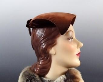 Brown Velvet Structured Mini Hat Vintage 1950's Women's Hat Fashions