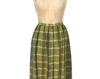 vintage 1970's plaid button front skirt / North American Design Workshop / cotton / green / women's vintage skirt / tag size small