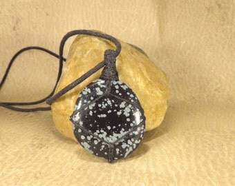 Snowflake Obsidian Pendant - Protection - Eliminate Negativaty - Reiki Infused Energy Jewelry  Palm Stone Reiki Necklace